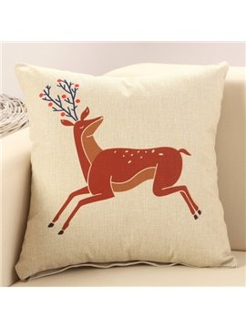 Running Sika Deer Print Cotton & Linen Throw Pillow