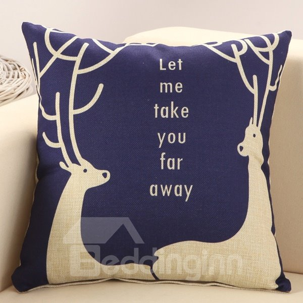European Style Two Deer Print Blue Throw Pillow