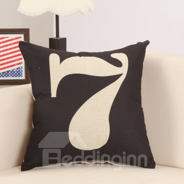 Cool Lucky Seven Print Cotton Linen Black Throw Pillow