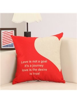 Fluffy Fashionable Heart Letter Print Cotton Linen Throw Pillow