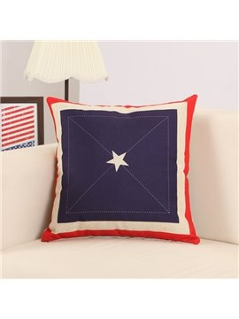 Simple Star Print Soft Cotton Linen Throw Pillow