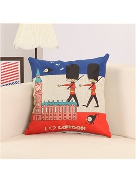 Cartoon Britain Imperial Guard Print Decorative Throw Pillow