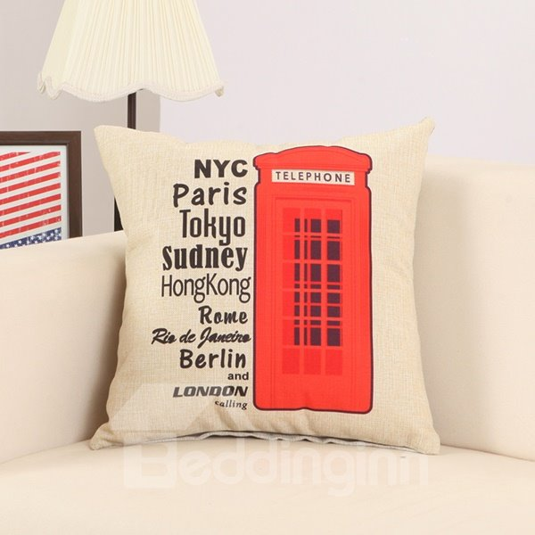 London Red Telephone Booth Print Soft Decorative Throw Pillow
