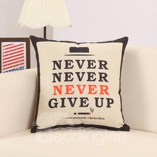 Never Give Up Print Super Fluffy Stylish Throw Pillow