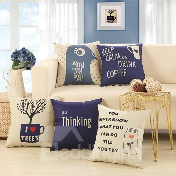 European Concise Style Letter Print Decorative Throw Pillow