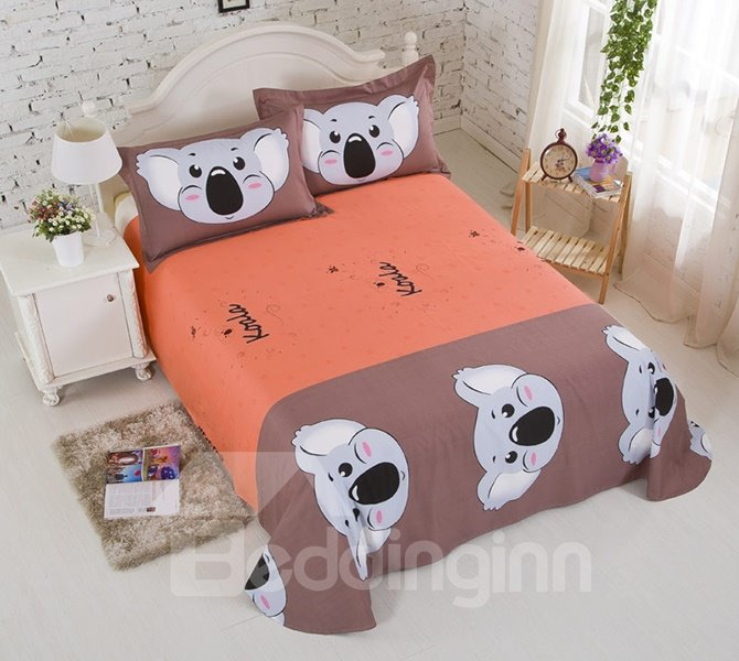 Lovely Big Koala Print Cotton Kids 4-Piece Duvet Cover Set