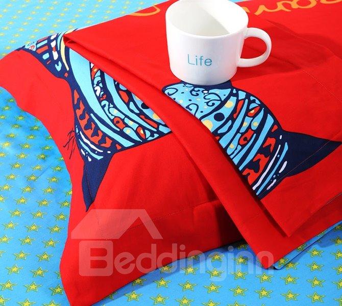 Graceful Cats Print Cotton Kids 4-Piece Duvet Cover Set