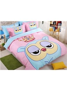 Cute Owl and Crown Print Kids 4-Piece Duvet Cover Set