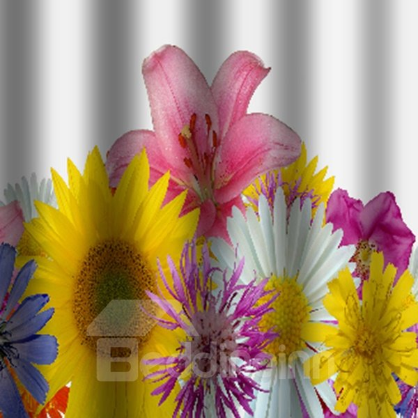 Gorgeous Vivid Water Flower Bathroom Shower Curtain