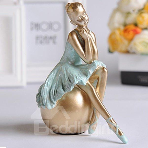 Graceful Resin Ballet Girl in Ponding Desktop Decoration