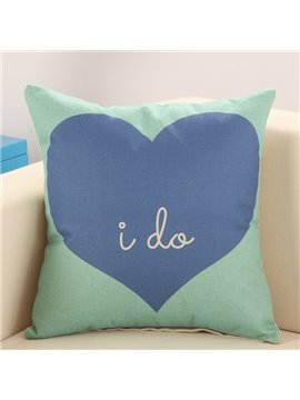 Refreshing Blue Heart Green Cotton Linen Throw Pillow