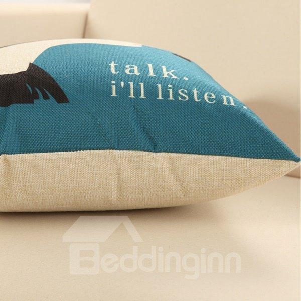 Audient Girl Print Cotton & Linen Throw Pillow