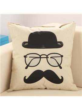Fashion Mustache Print Cotton Linen Throw Pillow