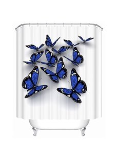 Vivid Thick Waterproof Butterfly Print 3D Shower Curtain