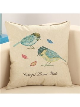 Blue Birds Print Fluffy Cotton & Linen Throw Pillow