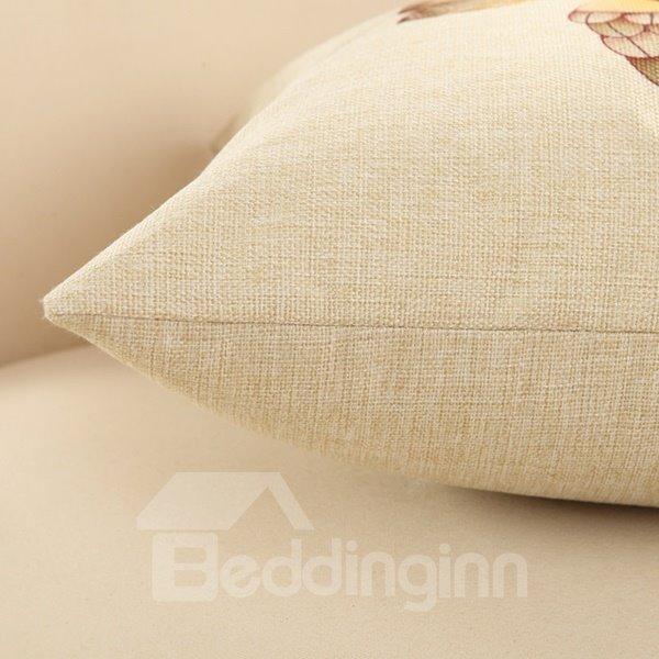 Cute Kissing Couple Birds Print Cotton Linen Throw Pillow