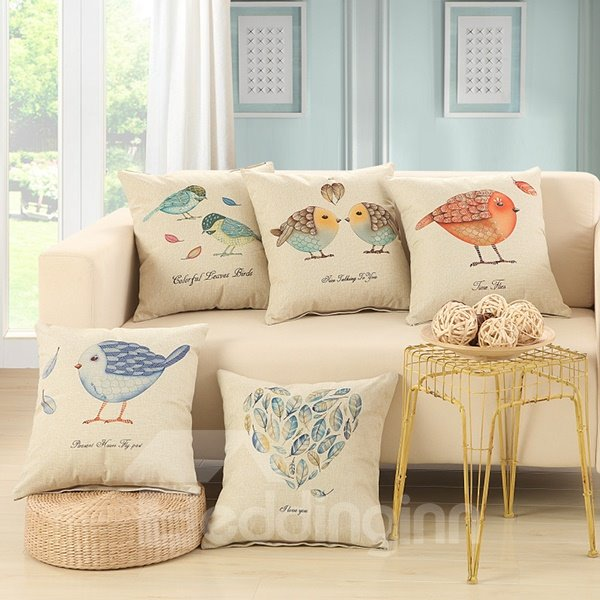 Blue Feather Heart Shape Design Cotton Linen Throw Pillow