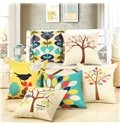 Bird Singing on Tree Print Cotton & Linen Throw Pillow