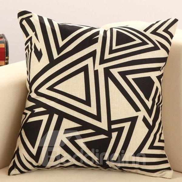 Fancy Black Triangle Print Cotton Linen Throw Pillow