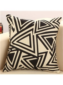 Fancy Black Triangle Print Cotton Linen Throw Pillow