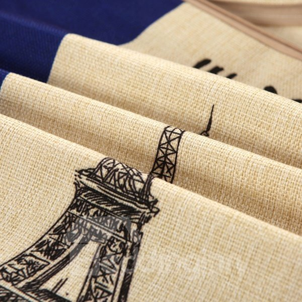 Eiffel Tower Print European Style Cotton & Linen Throw Pillow