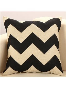 Trendy Black Wave Print European Style Cotton & Linen Throw Pillow