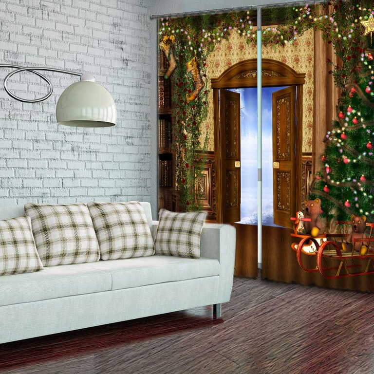 Wonderful Christmas Theme Polyester 3D Curtain
