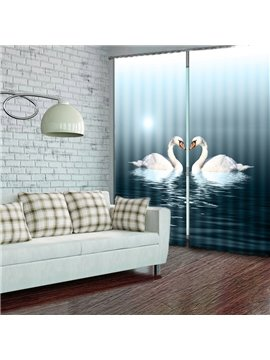 Lifelike 3D Swan Print Energy Saving Curtain