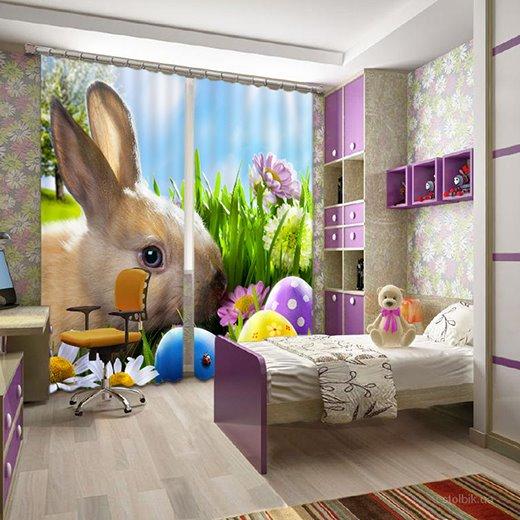 Super Lovely Rabbit Print 3D Blackout Curtain