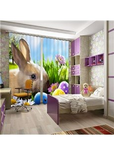 Super Lovely Rabbit Print 3D Blackout Curtain