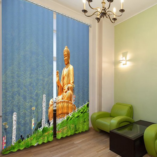 Buddha Statue Print 3D Light Blocking Curtain