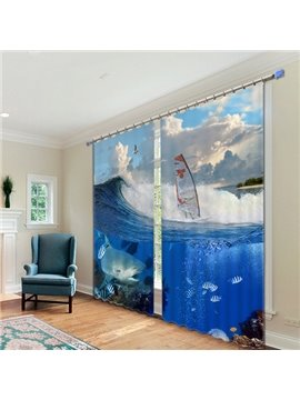 Light Shading Blue Sea Digital Printing 3D Curtain