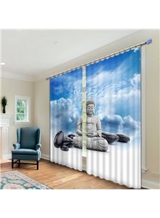 Buddha Statue Print 3D Energy Saving Curtain