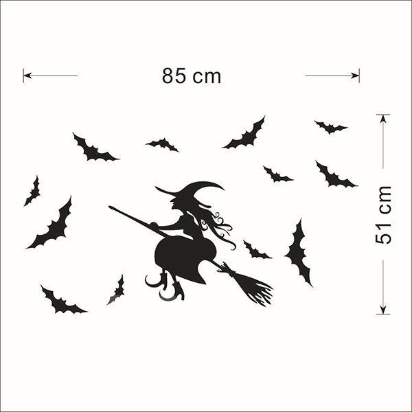 Festival Halloween Theme Witch Flying on Broom Removable Wall Sticker