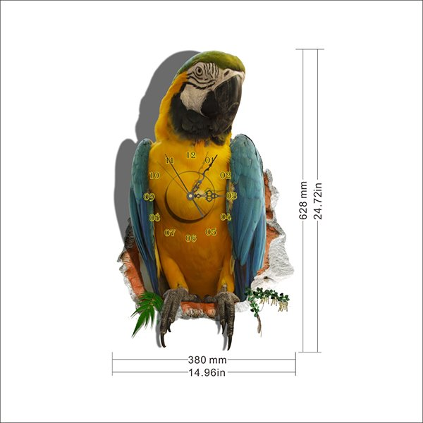 Fabulous 3D Parrot Design Sticker Wall Clock
