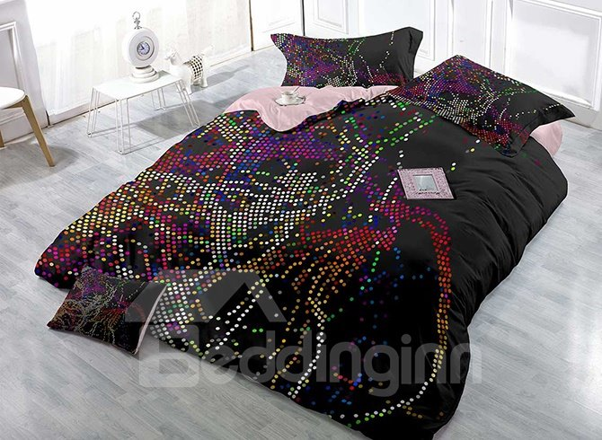 Chic Abstract Colorful Dots Satin Drill 4-Piece Duvet Cover Sets