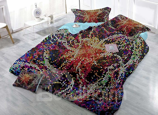 Unique Irregular Colorful Polka Dots Satin Drill 4-Piece Duvet Cover Sets