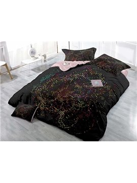 Abstract Polka Dots Design Satin Drill 4-Piece Duvet Cover Sets