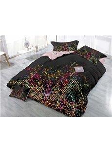 Fashion Black Colorful Polka Dots Printing 4-Piece Duvet Cover Sets