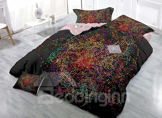 Dotted Circle Design High Density Satin Drill 4-Piece Duvet Cover Sets