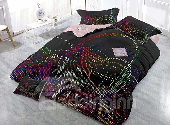 Irregular Colorful Dotted Stripe 4-Piece Black Duvet Cover Sets
