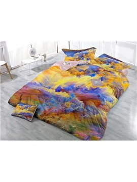 Fancy Colorful Scenery Print Satin Drill 4-Piece Duvet Cover Sets