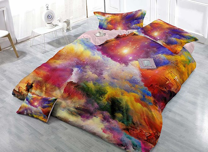 Pretty Shining Stars Scenery Print Satin Drill 4-Piece Duvet Cover Sets