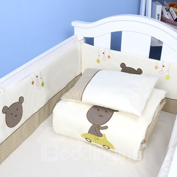 Cute Bear Driving Car Cotton 9-Piece Baby Crib Bedding set