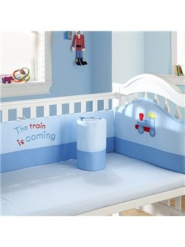 The Train Is Coming Blue Cotton 4-Piece Baby Crib Bedding set