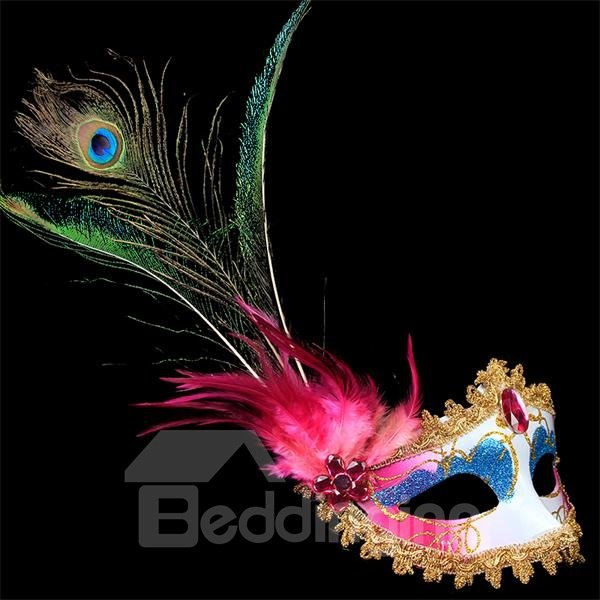 Exotic and Fancy Peacock Feathers Halloween Party Mask