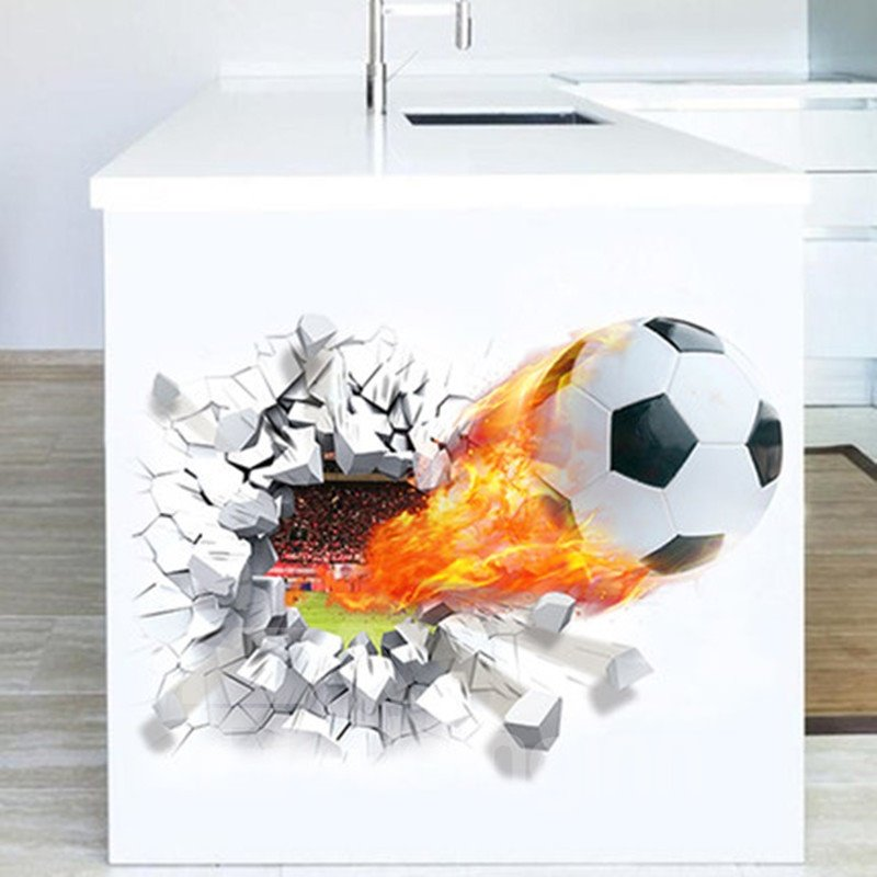 Football on Fire Through Walls Removable Wall Sticker