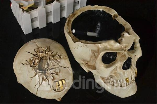 Large Size Skull Head with Gold Tooth Halloween Ashtray