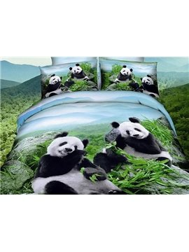 Lovely Pandas Eating Bamboo Leaves Print 4-Piece Duvet Cover Sets