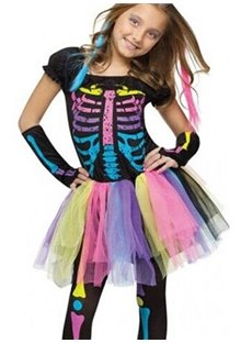 Cute Rainbow Color Skeleton Print Girl' s Halloween Costume